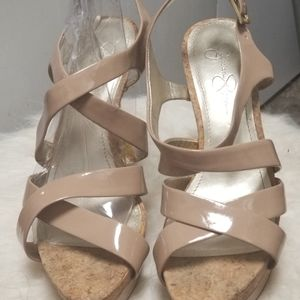 Jessica Simpson Nude Patent Cork Heel